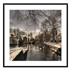 """""""Bruges In Christmas Dress"""" Framed Digital Print by Yvette Depaepe, 38x37"""""""
