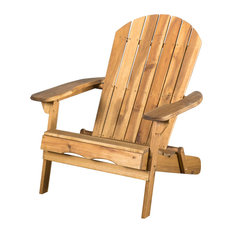 GDFStudio - Denise Austin Home Milan Outdoor Folding Wood Adirondack Chair, Natural Stained - Adirondack Chairs