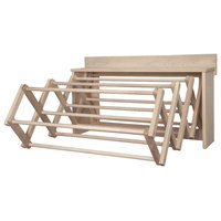 "Handmade Amish Maple Folding Drying Rack Wall Unit, 35.5"""