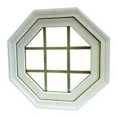 Mitered Operating Octagon Window,  Vinyl, White