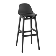 Turel Black Upholstered Bar Stool, Large