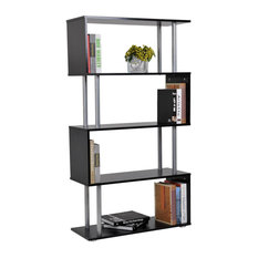 HomCom Modern S-Shaped 5 Tier Room Dividing Bookcase Wooden Storage Stand