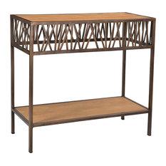 Redondo Console Table With Shelf  Antique Copper