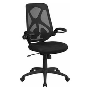 Mesh Executive Swivel Chair, 2-Paddle Control and Flip-Up Arms, Black