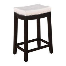 Hawthorne Collection 24-inch Faux Leather Counter Stool In White