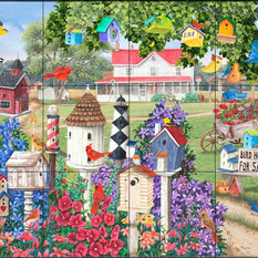 Tile Mural, Birdhouses for Sale - MT, 60.8x45.6 cm
