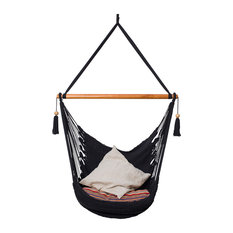 Tio Antonio Hanging Chair With Wooden Bar, Black