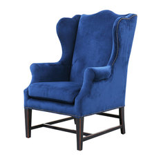 Gracie Art Deco Royal Blue Velvet Classic Wing Chair   Armchairs And Accent  Chairs