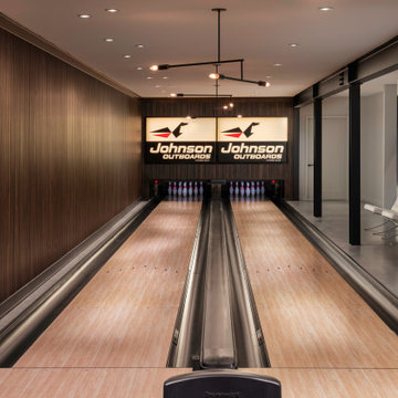Modern Northwoods Residence Bowling Alley