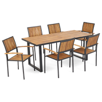 Aurora Outdoor 6 Seater Acacia Wood Dining Set With an Iron Frame