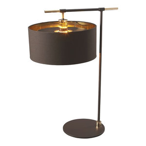 Right Angle Table Lamp, Brass and Brown
