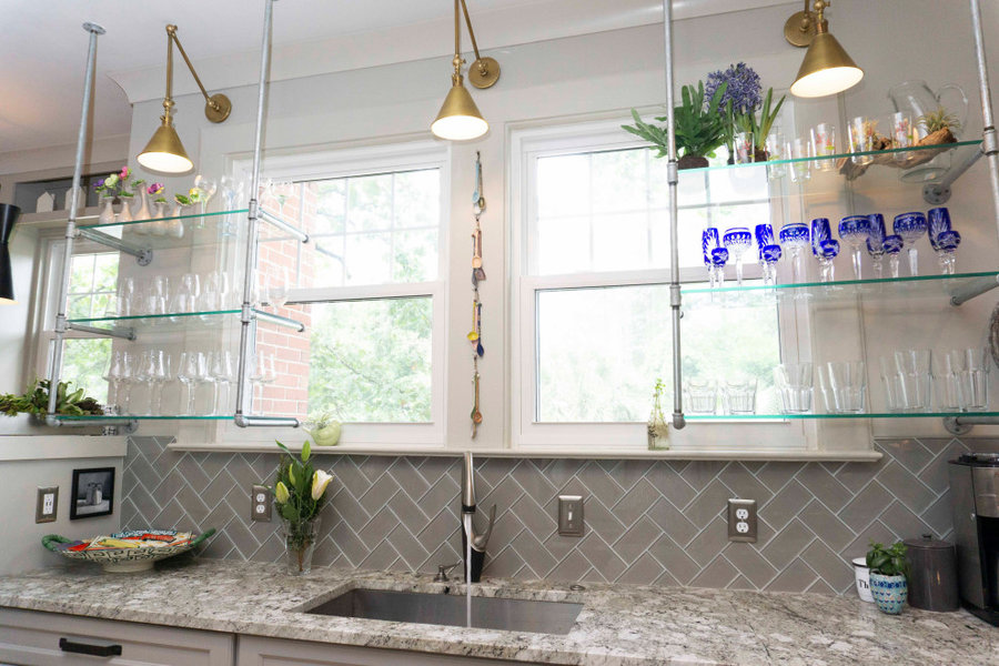 Extra storage/ Custom crafted glass shelves with galvanized tubing