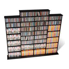 prepac furniture prepac quad width cd dvd media storage wall unit in black finish