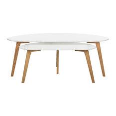 Safavieh   2 Piece Olida Nesting Table Set, White   Coffee Tables