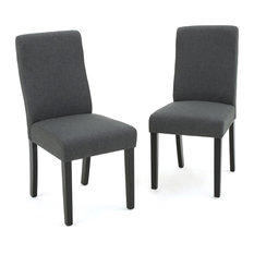 GDFStudio   Arthur High Back Fabric Dining Chair, Set Of 2, Dark Gray