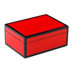 Lacquer Medium Box, Red Tulipwood