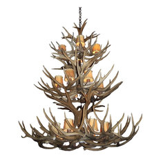 Real Shed Antler Mule Deer Triple Tier Chandelier, XXLarge, With Rawhide Shades