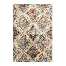 """Echo Antiqued All-over Medallions Ivory and Gold Area Rug, 7'10""""x10'10"""""""