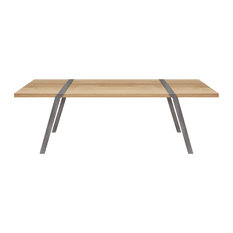 8-Seater Solid Oak Dining Table, Light Steel