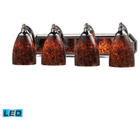 4-Light Vanity, Polished Chrome and Espresso Glass, Led, 800 Lumens