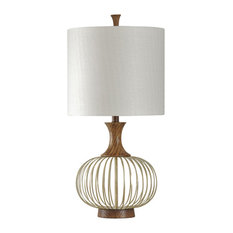 StyleCraft Home Collection   Corbin Table Lamp, Natural Wood And Brass  Finish, White Hardback