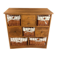 Wood Cabinet With 5 Baskets and 4 Drawers