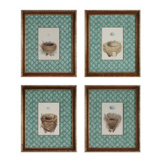 Set Of 4 Paintings Of Bird Nests With Eggs Wall Art In Brown/Green Color - Oval