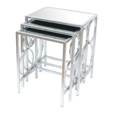 Three Piece Metal Nesting Tables With Circular Stacked Design Silver