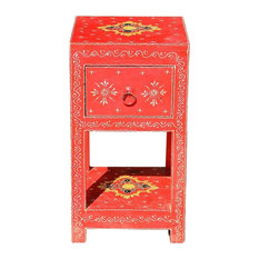 Benton Hand Painted Solid Wood 1 Drawer End Table
