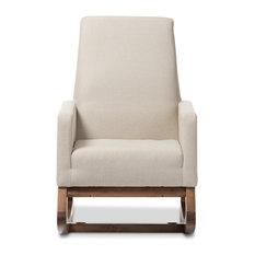 Yashiya Retro Fabric Upholstered Rocking Chair, Light Beige