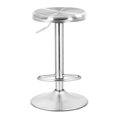 Costway Brushed Stainless Steel Swivel Bar Stool Seat Adjustable Height Silver