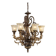 Regency 6-Light Chandelier, Burnt Bronze, Caramel Amber Glass, Standard