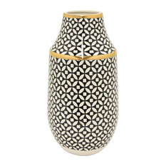 """Three Hands Vase, Black and Gold, 6""""x11.75"""""""