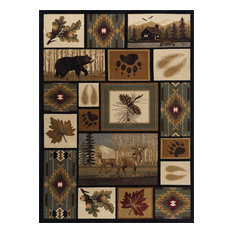 Northern Wildlife Novelty Lodge Pattern Multi-Color Rectangle Area Rug, 8' x 10'