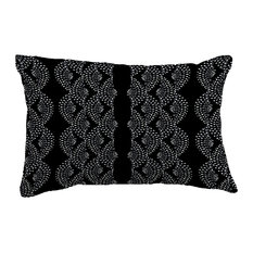 "Dotted Dcor Stripe Print Throw Pillow With Linen Texture, Black, 14""x20"""