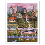 """Springtime in Central Park - Cozy, down-home images of a bygone era when life was simpler - this is the feeling captured in the creations of one of the world's most recognized artists. """"Springtime in Central Park"""" is a limited edition lithograph on paper, numbered and hand signed by Wooster Scott! Includes Certificate of Authenticity! Measures approx. 18.5"""" x 24.5"""" (with border), 16"""" x 20.5"""" (image)"""