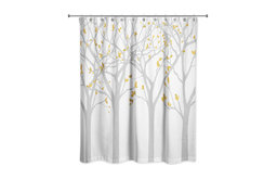 Gray Tree Silhouettes 71x74 Shower Curtain