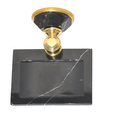 Soap Dish With Nero Marquina Marble Accents, Oil Rubbed Bronze