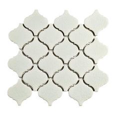 "9.75""x10.25"" Victorian Morocco Porcelain Mosaic Tiles, Set of 10, Crackle White"