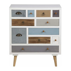 Modern Bedside Table With Pine Legs and Multicoloured Drawers, 4 Drawers