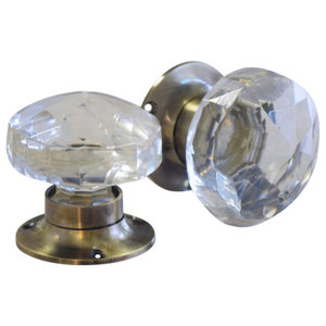 Glass Mortice Door Knobs With Antique Style Base, Set of 2