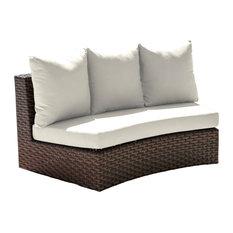 Panama Jack Big Sur Curved Loveseat, Cushions, Sunbrella Cabana Regatta