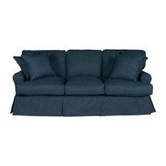 Sunset Trading Horizon T-Cushion Slipcovered Sofa Navy Blue