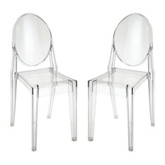 Vanish Clear Acrylic Furniture Dining Chairs Set of 2 by Benzara Woodland Imprts The Urban Port