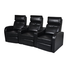 VidaXL   Artificial Leather Home Cinema Recliner Reclining Sofa 3 Seat  Black   Recliner Chairs