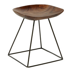 Natural Brown Acacia Wood Stool With Scoop Seat And Black Iron Geometric Base