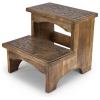 Heritage Collection Mango Wood and Metal Step Stool