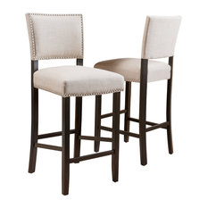 GDFStudio - Riley Bonded Leather Backed Barstool, Set of 2 - Bar Stools and Counter Stools