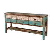 Rustic Reclaimed Painted Solid Wood Sideboard