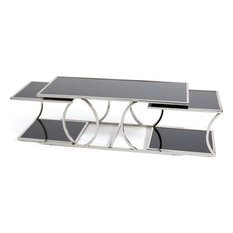MORELLO Nesting Tables Black Polished Stainless Steel Set 3 Glas by EuroLuxHome